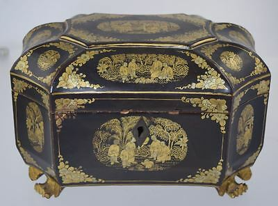 Antique Chinese Export Lacquer Tea Caddy Box Black W/gold Scenes Paw Feet