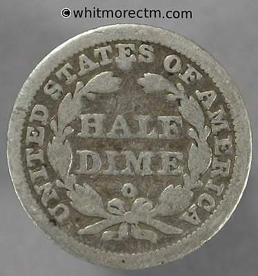 1844 USA Five Cent - Half Dime 1844O Rare - Pierced K62.2