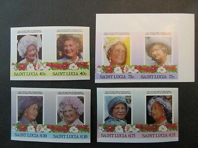 St Lucia, Sc# 782-785, Queen Mothers Birthday Imperf Pair Set, Mint