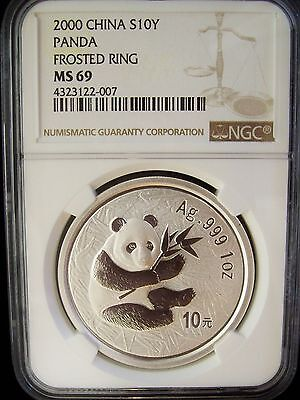 2000 China Panda Frosted 10 Yuan NGC MS69 1 Ounce Silver Coin