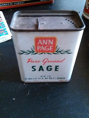 Vintage tin Ann Page pure ground sage net WT. 1ozThe Great A&P Tea Co., New York