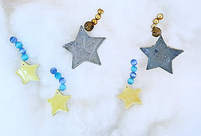 CHRISTMAS Set of 5 Artist-Made Ceramic Blue & Yellow Star Ornaments with Beads