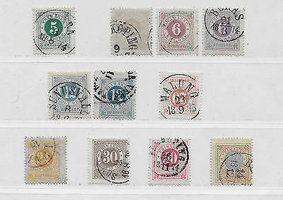 Sweden collection of early ringtypes, including a dark violet 6o (Scott 20a)