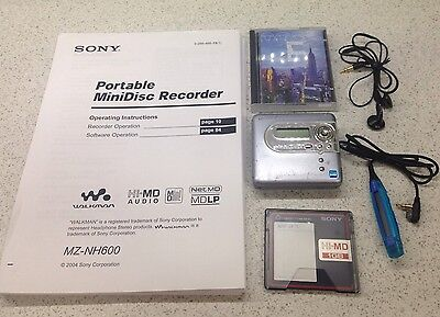 Sony MZ-NH600 MiniDisc Recorder - Hi-MD - NetMD - with remote and mini discs