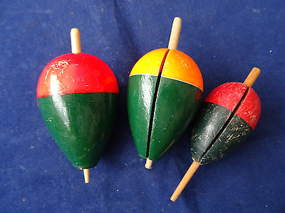 3 Used Vintage Pike Floats, Including One Early Example
