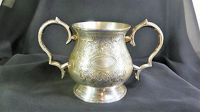 Antique British Victorian Silver Plated Floral Sugar Bowl with Maker's Marks