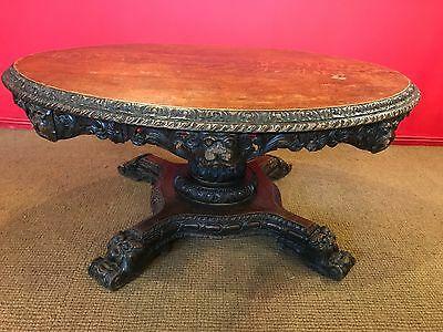 William Iv Oak  Carved Table Profesionally Hand French Polished