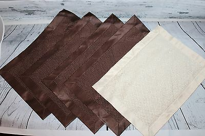 Lot of 5 Brown White Place Mats Ivory Shiny Fashion Dining Placemat Fabric Cloth