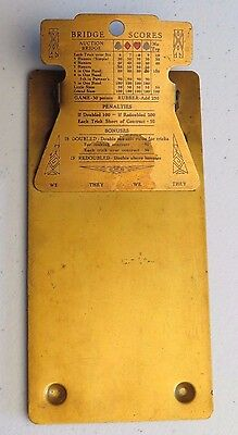 Advertising BRASS CLIPBOARD BRIDGE SCORES L.F. Grammes & Sons Allentown PA