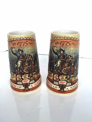Lot of 2 Miller Beer Mug Stein Birth Nation 1775 First Series America Glass
