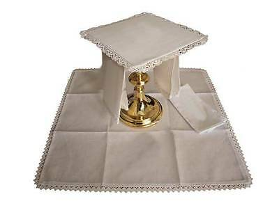 Deluxe Church Altar Linen Set plain with laced edges, Catholic, Anglican, vicar