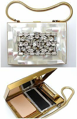 Rhinestone Compact Purse Necessaire Mother of Pearl Carry All Cigarette Vintage