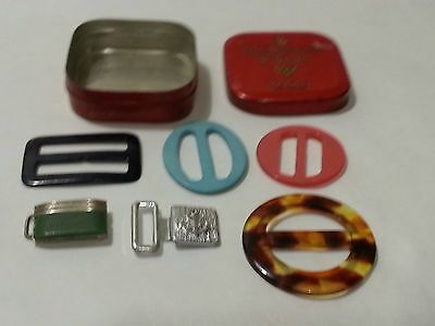 Vintage small tin of old buckles including chrome galalith - Bengel?