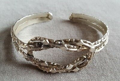 Modernist Mid-Century Pewter Abstract Knot Brutalist Textured Torque Bangle