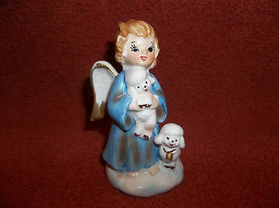 Vintage Lefton Blue Robe Angel with Lambs # 723 Gold Trim-Perfect!
