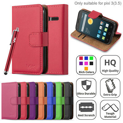 For Alcatel One Touch Pixi 3 3.5 Flip Wallet Leather Book Card Slots Case Cover