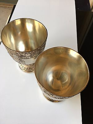 silver cups 19 century, (weight 1/2 pound made in japan) In side is 24 C.Gold.