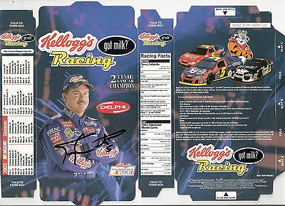 "NASCAR Souvenir Card Kellogg's Racing ""got milk"" Autographed by TERRY LABONTE"