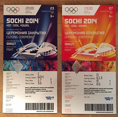 Rare Sochi 2014 Winter Olympic Genuine Opening & Closing Ceremony Tickets