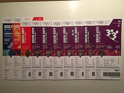 10 x SOCHI 2014 GENUINE WINTER OLYMPIC TICKETS INCL OPENING & CLOSING *MINT*