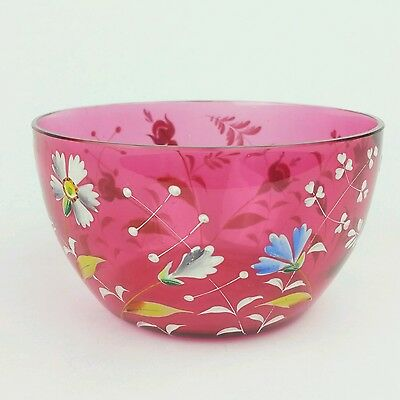 Antique Cranberry Glass Bowl with Enameled Flowers