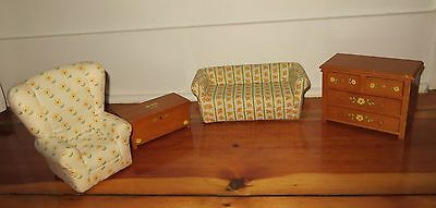 lot of 4 American Girl Angelina Ballerina Wood doll furniture sofa / couch chest