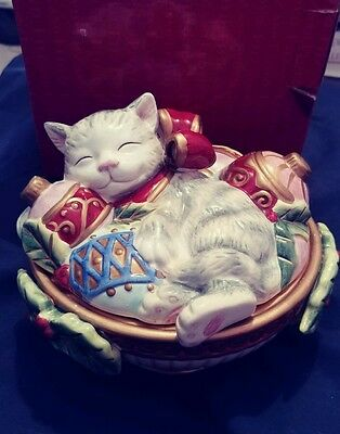 "Fitz And Floyd Yuletide Kristmas Kitty Lidded Box  5""h Free Shipping Mint Rare!!"