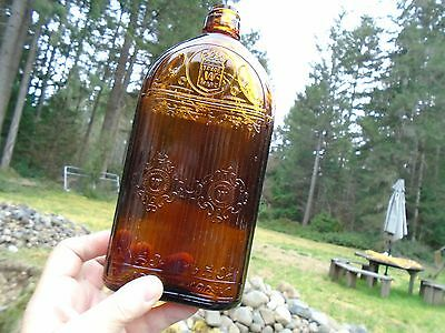 1930's Prohibition Hiram Walker Whiskey Bottle Canadian Royal Oak Straight Gate