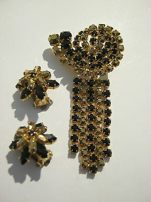 Vintage goldtone black & amber rhinestone brooch with matching clip on earrings