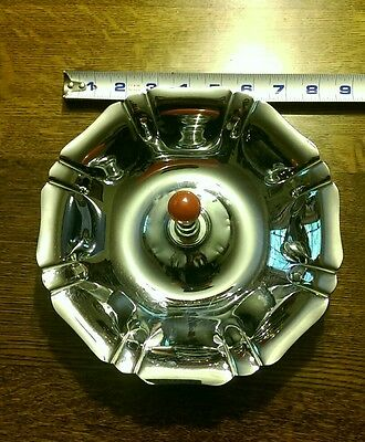 vintage minimal modern Manning Bowman Art Deco Chrome and Red Bakelite Tray