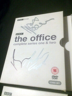 The Office Season 1 & 2 DVDs Signed by Ricky Gervais Martin Freeman & Mackenzie
