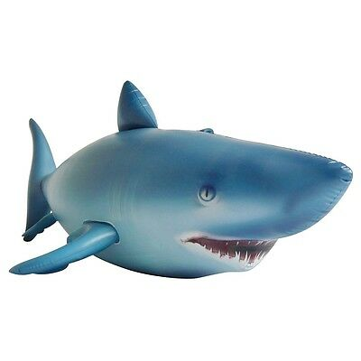 """Realistic Shark Pool Float Raft - Inflatable Toy - 84"""" Long x 36"""" High"""