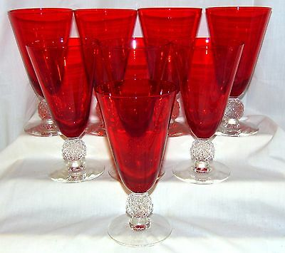 "8 Morgantown GOLF BALL SPANISH RED *6 3/4"" - 12 oz FOOTED ICED TEA TUMBLERS*"