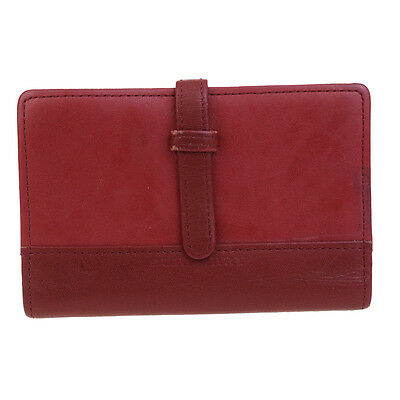 Authentic BURBERRY Logos Agenda Day Planner Notebook Cover Leather Red 06F812