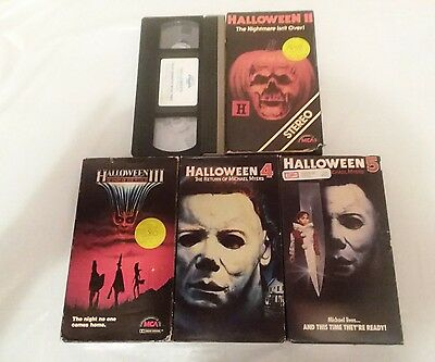 Lot of 5 Halloween VHS tapes. 1 , 2, 3, 4 & 5