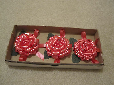 Vintage ribbon roses package bows gift wrap by current new in box set of 3