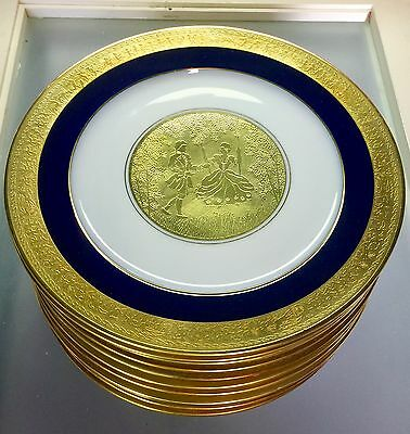 Outstanding Hutschenreuther Cobalt Gold Set 12 Service Plates Courting Fantasy