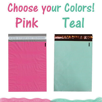 """10"""" x 13"""" Pink and Teal Flat Poly Shipping Mailers, Colored Mail Envelope Bags"""