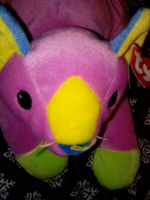 TY Pillow Pals Meow Kitty Cat Pink Green Blue 1998 Plush Stuffed. Retired