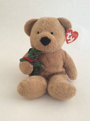 """TY BEANIE BABY Pluffies brown BEARY MERRY W/ GREEN PLAID BEAR 9"""" Christmas plush"""