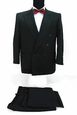 Canali Italy 2 Piece Double Breasted Suit Black Gray Stripes Wool 40S