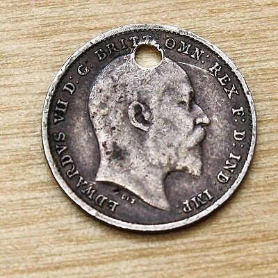 1902 Great Britain 3 Pence Silver Holed