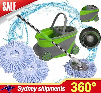 360 Degree Magic Spinning Mop &Stainless Steel Spin-Dry Bucket w/ 2 Mop Heads AK