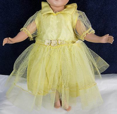 """Vintage Cecilia Saucy Walker 16"""" Doll Dress Tulle Yellow"""