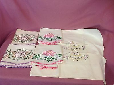 3 Pair Vintage White Pillowcases  Hand Embroidery Flowers  Crochet. Ad