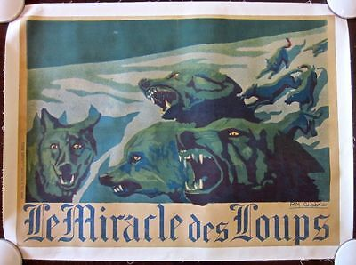 Reduced!!  Miracle Of The Wolves 1924 French Lb Poster - Rare P.m. Chabrier Art!