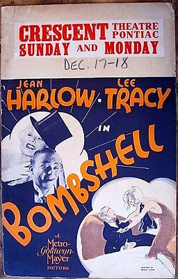 Bombshell '33 Never Folded Unrestored Window Card Poster  Harlow As Clara Bow!