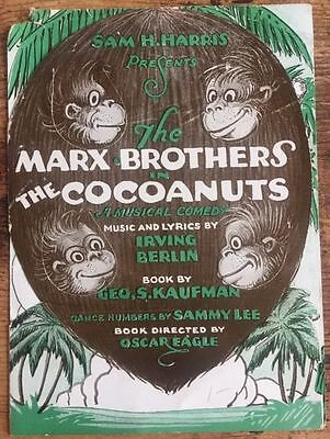 The Cocoanuts - Original 1929 Herald Poster - Rare Marx Brothers Stage Comedy!