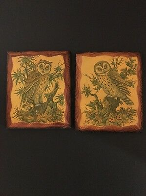 vintage set 2 small rustic wood plaques owl art decoupage pictures wall hanging