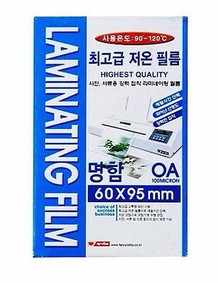 60x95(mm) 100 Micron Laminating Pouch Film Glossy Protect photo paper 100 Sheet